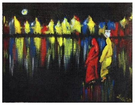 indian women, india , Oil painting, medium, contemporary, fine art, painting, holy bath, colorful, lights, reflection, water, woman bathing, night,