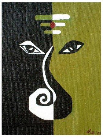 Modern, contemporary, ganesha, Celestial,Ganesh, God, Hindu, elephant, elephant God,Vinayaka,blessing,Painting, sanskrit,Oil painting,art,fine art ,imaginative,fantasy,