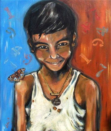 Indian boy,contemporary,modern, original,portrait, art, face, figure, figurative,, painting, acrylic painting, butterfly, colorful, smile, charm, india