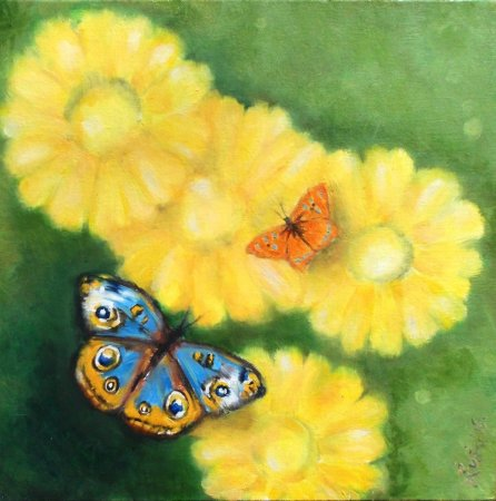 Butterflies, flowers, blue butterfly, orange butterfly, yellow flower, beautiful colors, spring,zuza, modern, art, oil painting,