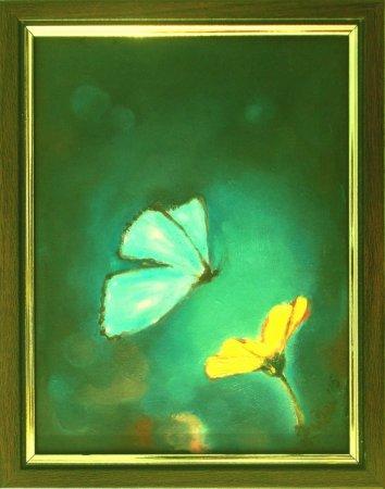 Butterfly, flower, light, blue, yellow flower, beautiful colors, zuza, modern, art, oil painting,