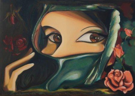 eyes, modern, contemporary, mystique, woman, lady, middle east woman, Indian women, shy woman, roses, beauty, women's face, soul, realistic painting, realism, art, fine art, oil painting