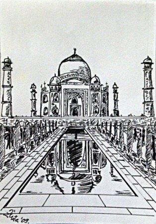 Taj Mahal, Taj, Ink, drawing, black and white, painting,art, fine art,  India,
