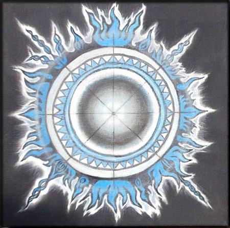Sudarshana Chakra, Vishnu Chakra, Modern, Sudarshana, Fire, Black and Blue, contemporary, art, oil painting, cosmos, spining chakra, Jagganatha chakra, colorful, chakra series, india, indian art, spiritual art,