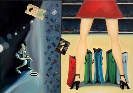 Contrast, lady, woman, girl, Different painting, Oil painting, rich, bitcoin, world,Painting art,fine art,collection, Modern, contemporary,woman in red, legs, mini skirt, money, poor, boy, blue, sad, question, symbols, money symbols, shopping, bags, shoes
