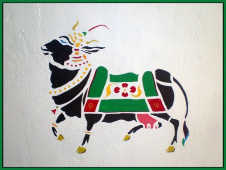 Cow, wall Painting, colorful, mural,