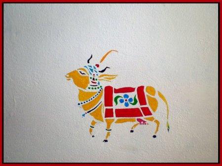 Calf, wall Painting, colorful, mural,