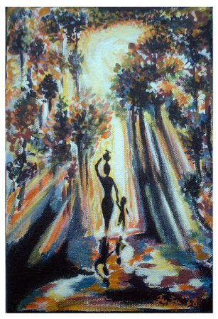 Mother, Lady with a child, lady, woman, girl, Different painting, acrylic painting, medium, Painting art, fine art, collection, Modern, contemporary, painting,New Day, colorful, light, sun light, impressionism, impressionistic,
