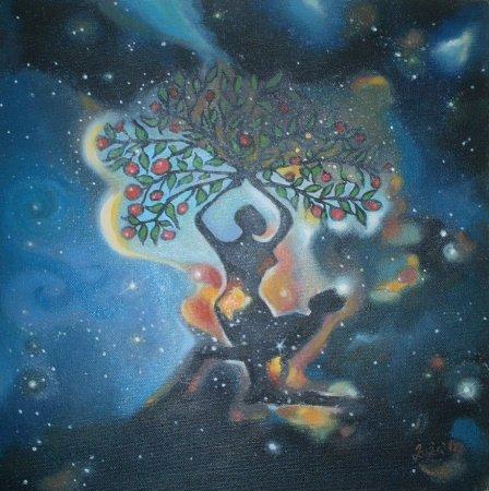 Modern, contemporary,birth,life,God, Painting, chakras,cosmos,universe, sanskrit,Oil painting,Painting, art,fine art,imaginative, surrealistic, fantasy,man, woman,