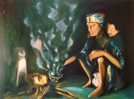 contemporary,art, face, figure, figurative, fine art,realism, painting,oil painting, old man, fire, fireplace, dog, sitting, girl, tea, smoke, family,