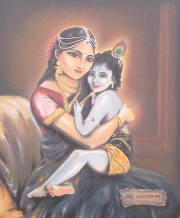 Yashoda Krishna,Yashoda, baby Krishna, Spiritual art, Vedic art, oil painting, figures painting, realism, classical, india, Mother Yashoda,