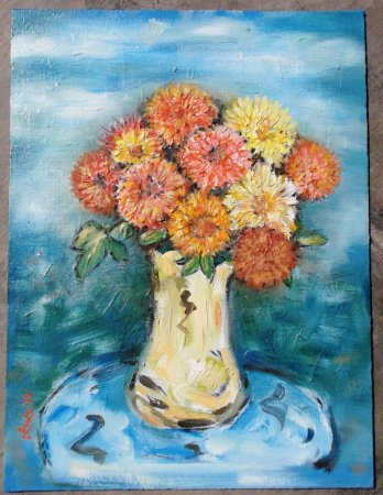 flower, colorful flowers, still life, realistic, oil painting, India,art, fine art, painting, contemporary, modern, green, blue water, lotus leaf,dahlia