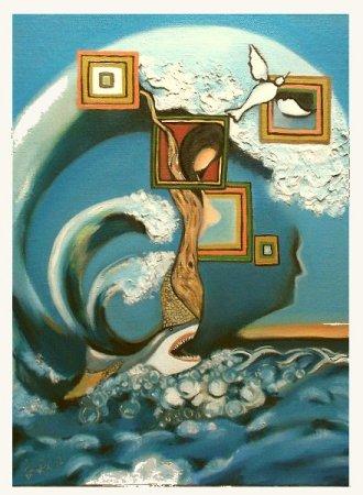 Modern, contemporary, lady, woman, girl, Oil painting,Painting art,fine art, figure, bird, shark, Man, face, sea, ocean, water, blue, imaginative, surrealistic, fantasy,