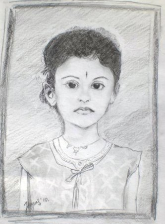 Indian Girl, portrait, drawing, pencil, art, pencil on paper, face, figure, figurative, fine art,Realism, painting, India.