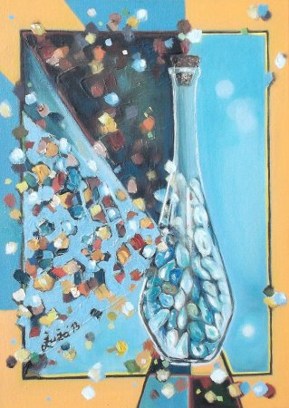 Modern, contemporary, still life, Cubic painting,cubism, bottle, stones, light, Oil painting,Painting, art,fine art,