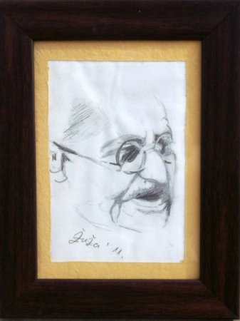 Contemporary, Gandhi, portrait, drawing, sketch, pencil, art, pencil on paper, face, figure, figurative, fine art,Realism, painting, India, great man, Father of India, Gandhiji,