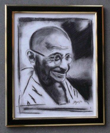 Gandhi, Portrait, man, smile, smilling,charcoal, impressionistic, modern, art, contemporary, Mahatma Gandhi, Gandhiji, Mahatma,