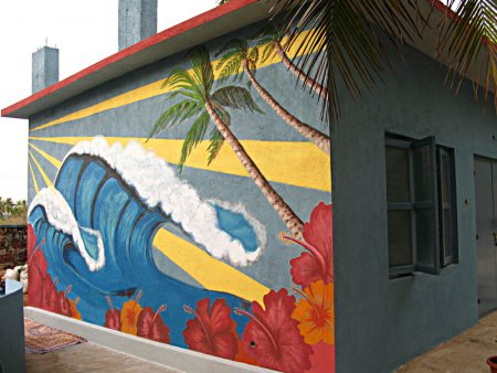 ,wall painting,Wave, troppical, colorful, palm tree, flowers, sun rays,