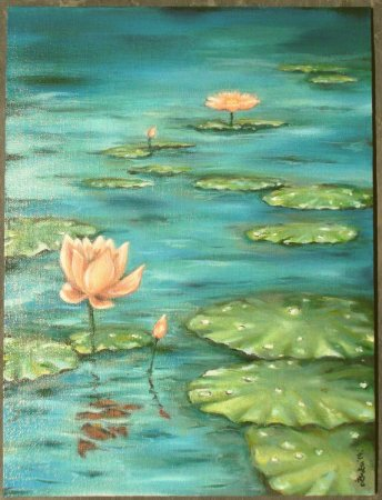 flower, lotus,pink, still life, realistic, oil painting, India,art, fine art, painting, contemporary, modern, green, blue water, lotus leaf,dahlia