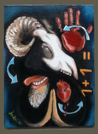 imaginative, surreal,Newton's Law,mortality,life,death,science,mercy,kindness,Oil painting,contemporary,figurative,karma, art