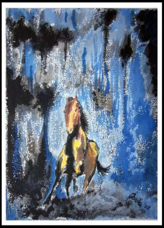 horse, running horse, water color, painting, imaginative, water painting, art, modern art, blue, contemprary, colorful, arabian horse,