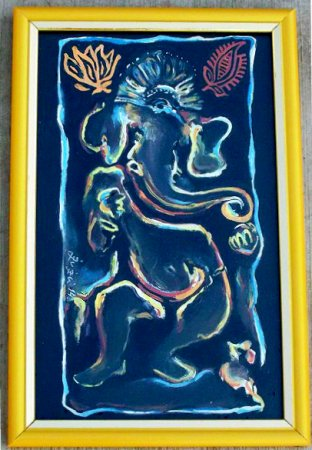 Ganesha,modern,indian contemporary,spiritual art,oil painting,Hindu Gods,colorful, beautiful paintings,India,