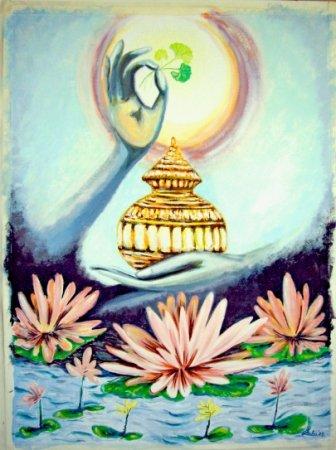 Contemporary, modern, art, ayurveda,Dhanvantari, Nectar of life, nectar, pot, lotus, hand, healing, herb, sun, veda,
