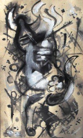 Picasso style, contemporary, modern art, free style, Shiva, lingam, cubism, plain art, bull, nandi, shiva lingam, abhishekam, raw art.