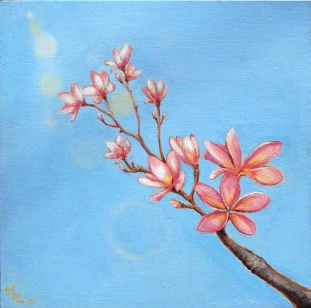 Plumeria, flower, pink, oil painting, realistic, realism, pink flower, blue sky, sunlight, sky,zuza, art, oil canvas,