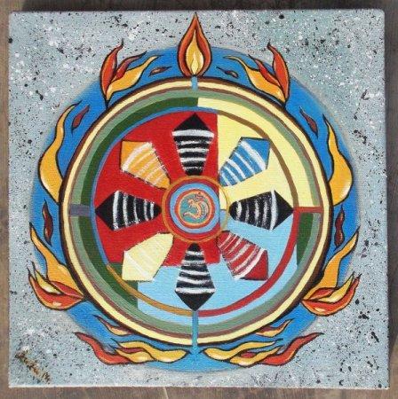 Sudarshana Chakra, Vishnu Chakra, colorful, Modern, Fire, contemporary, art, oil painting, cosmos, spining chakra, Jagganatha chakra,spiritual art, india, indian art,