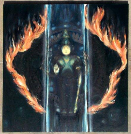 Chakra, contemporary painting, Modern Painting, Fire, Sudarshan, contemporary, art, oil painting, chakra, Vishnu Chakra, spiritual art, Indian art, india, Sudarshana,