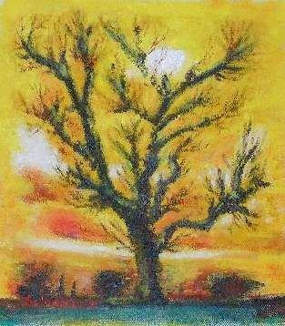 Sun travel,landscape,colorful, red sky,dusk, dawn,oil painting,Acrylic painting, medium,art, fine art,sun, trees, ligh in sky, grass, shadows,