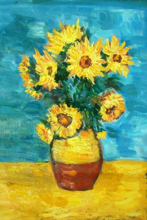 Sunflovers, Flowers, Vase, Yellow Flowers, reproduction, Van Gough, impressionism, painting, canvas, colorful, art, oil, oil painting, thick, zuza, modern