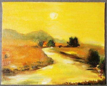 Sun, rising sun, river, sunrise, dawn, sun rays, sun light, beautiful, nature, skyscape, yellow, landscape, warm colors, reflection, divine nature, zuza, modern, art, oil painting,