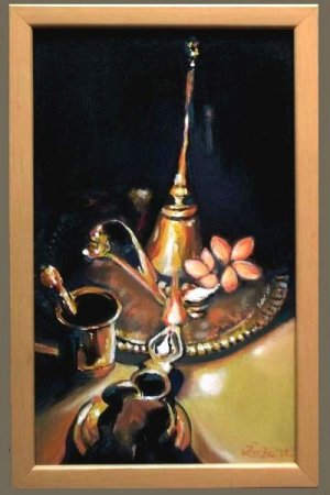 Devotion, still life,shadows, light, lamp, fire, incense, flower, bell, paraphernalia, tulasi, puja,painting,oil painting,Realism,