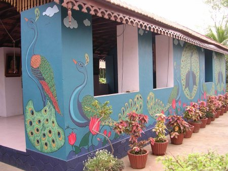 Peacock, wall Painting, colorful, mural, ashrama,blue,