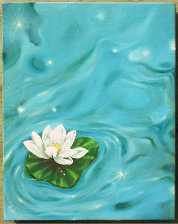 Lotus, flower, white, oil painting, modern, contemporary, impressionistic, blue water, lake, padma,