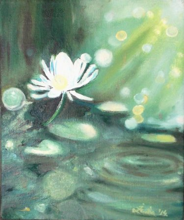 Lotus, flower, white, oil painting, modern, contemporary, impressionistic