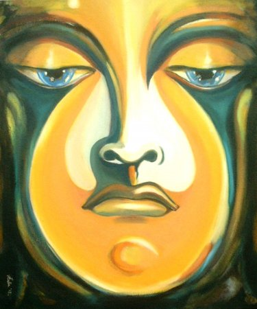 Buddha, contemporary, modern, portrait, art, face, figure, figurative, fine art, acrylic painting,colorful, tree, meditation, modern art, sad