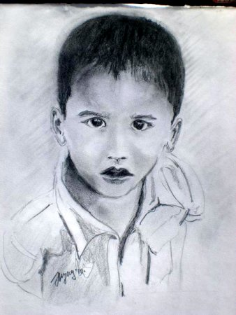 Wonder, Boy, portrait, drawing, pencil, art, pencil on paper, face, figure, figurative, fine art, collection,Realism, painting, India.