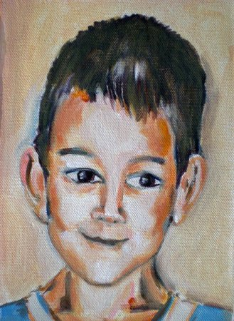 Boy, portrait, art, face, figure, figurative, fine art,Realism, painting,oil painting,