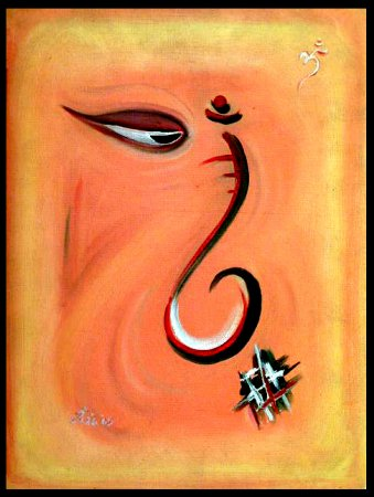 Ganesha,indian contemporary,art,contemporary,spiritual,oil painting,Hindu Gods,colorful, beautiful paintings,India, modern, abstract