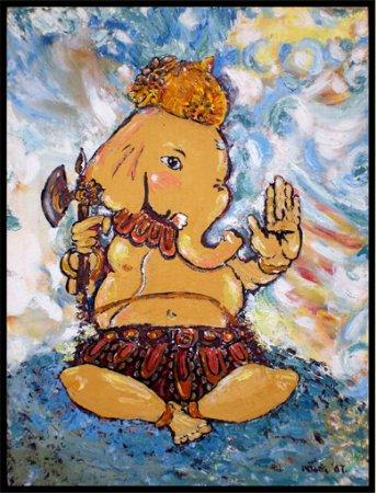 Ganesha,contemporary,modern,cubism,spiritual,acrylic painting,impressionist art,Hindu Gods, colorful, beautiful paintings,india