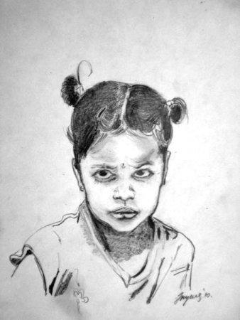 Girl, portrait, drawing, pencil, art, pencil on paper, face, figure, figurative, fine art,Realism, India.