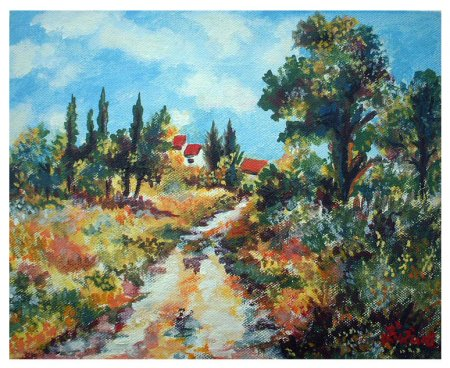 Country side, landscape, house, colorful, blue sky,Acrylic painting,Painting art, fine art, painting,India,