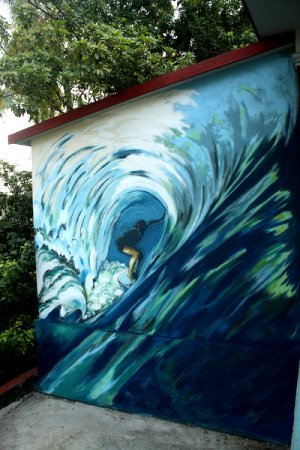 wall painting,Surfer,barrel, large, blue, impressionistic, mural