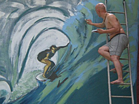 wall painting,Surfer,barrel, large, blue, impressionistic