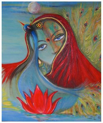 Peacock Lady, peacock, lady, woman, girl, Eyes, face, India, Indian women, oil painting, figure, figurative, Painting art, fine art, Modern, contemporary, painting,imaginative, surrealistic, fantasy