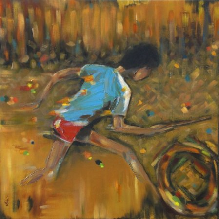 contemporary, Joy, life, boy, play, child's play,run, modern, acrylilc painting, colorful, impressionism, impresionistic painting, dry brush, amber, happiness,