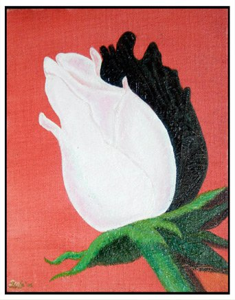 Purity,flower, rose,white, still life, realistic, oil painting, India,art, fine art, painting,contemporary, modern,